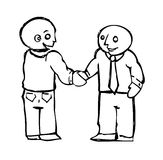 Handshake Agreement. Vector illustration of two white collar men making a business agreement Royalty Free Stock Image