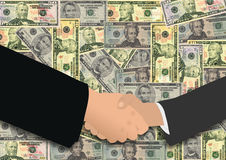Handshake on American dollars Stock Photos