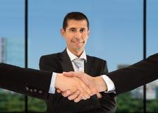 Handshake And Portrain Stock Photography