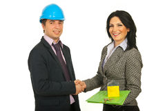 Handshake architect and buyer Royalty Free Stock Images