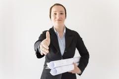 Handshake architect woman Stock Photo