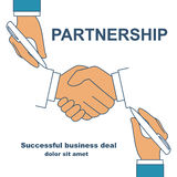 Handshake as symbol of partnership. Two businessman holding a pen in hand, drawing handshake as symbol of partnership cooperation, concept. Background for Stock Images