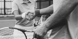 Handshake Athlete Coaching Trainer Exercise Concept. Handshake Tennis Athlete Sportsmanship Concept Royalty Free Stock Photo
