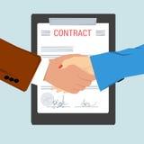 Handshake - on background contract sheet Stock Photography
