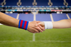 Handshake of  between  Barcelona and  Madrid Royalty Free Stock Images