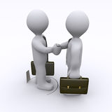 Handshake is being sabotaged. Handshake between two businessmen is sabotaged by hole in the ground Royalty Free Stock Image