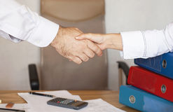Handshake betwwen a businessman and a business woman Stock Image