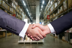 Handshake at big market Stock Photo