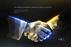 Handshake. Blockchain. vector. Abstract image two hands handshake in the form of a starry sky or space, consisting of points, lines, and shapes in the form of vector illustration