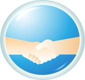 Handshake on blue background Stock Images