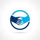 Handshake blue - shaking hands Stock Photos