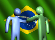 Handshake with Brazilian flag Royalty Free Stock Photo