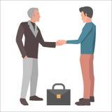 Handshake Brunette Man and Gray-haired Man Vector Stock Photos
