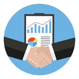 Handshake, business agreement, bet, partnership concepts. Two hands shaking each other. illustration isolated on blue background Stock Photography
