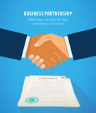 Handshake business on background of contract flat design vector illustration. Royalty Free Stock Photos