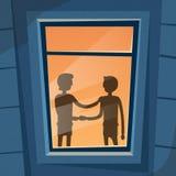 Handshake Business Hands Shake Black Deal Concept. Businessman Window Light Silhouette Office Room Light Flat Vector Illustration Royalty Free Stock Photography