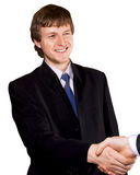 Handshake of business man. Isolated Stock Photos