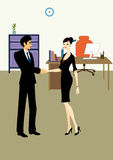 Handshake between business man and woman in office Royalty Free Stock Images