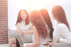 Handshake business partners after the discussion of financial documents royalty free stock images