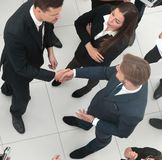 Handshake business partners before the start of the business mee. Ting.the view from the top Royalty Free Stock Photo