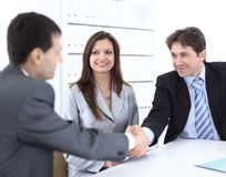 Handshake business partners in the workplace Royalty Free Stock Photography