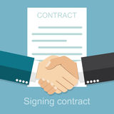 Handshake of business people on the background of the contract Vector Illustration