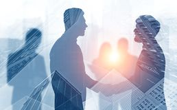 Handshake of business people in city vector illustration