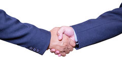 Handshake and business people concepts. Two men shaking hands  on white background. Close-up image of handshake between two business man Stock Photography
