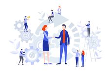Handshake of business people. Miniature cartoon illustration vector graphic. On white background vector illustration