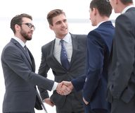 Handshake of business people.photo with copy space.  royalty free stock photo