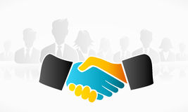 Handshake. Business vector illustration . Orange and blue icon hands stock illustration