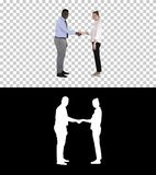 Handshake of business woman and business man posing for the picture, Alpha Channel stock images