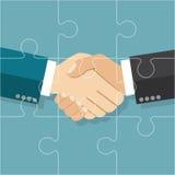 Handshake businessman agreement. Partnership puzzle. Partnershi royalty free illustration