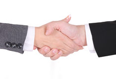 Handshake between businessman and businesswoman Stock Images