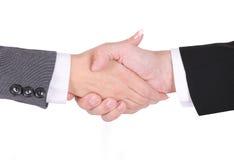 Handshake between businessman and businesswoman Stock Images