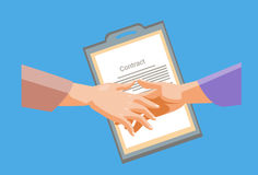 Handshake Businessman Contract Sign Up Paper Document, Business Man Hands Shake. Flat Vector Illustration Stock Images
