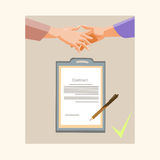 Handshake Businessman Contract Sign Up Paper Document, Business Man Hands Shake Pen Signature Royalty Free Stock Photos