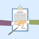 Handshake Businessman Contract Sign Up Paper Document, Business Man Hands Shake Pen Signature Office Desk Royalty Free Stock Photography