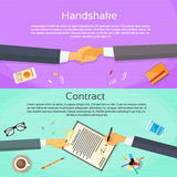 Handshake Businessman Contract Sign Up Paper Stock Photo