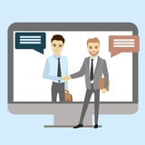 Handshake between businessmen through the screen. Vector illustration royalty free illustration
