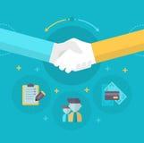 Handshake. Businessmen shake hands concluding a bargain. Concept of partnership in business royalty free illustration