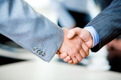 Handshake of businesspeople. Close-up of two businessmen�s handshake royalty free stock photos