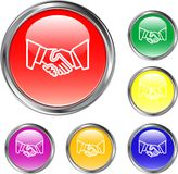 Handshake Button. This is a handshake button for internet design Royalty Free Stock Photo
