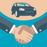 Handshake and car on a stand Stock Images