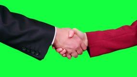 Handshake closeup chroma key stock video footage