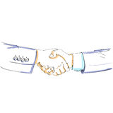 Handshake color sketch vector silhouette business Royalty Free Stock Photos