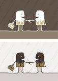 Handshake colored cartoon Stock Image