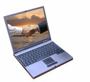 Handshake on Computer Screen Royalty Free Stock Photo
