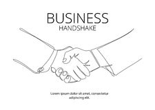Handshake continuous line vector drawing. Business agreement vector concept vector illustration
