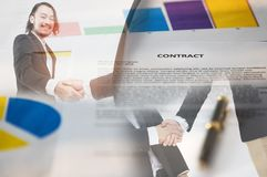 Handshake and contract paper royalty free illustration